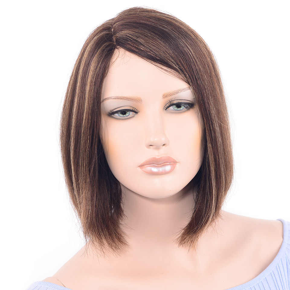 LADYSTAR 100 Percent Human Hair Bob Straight Wig U-Shape lace wig Mixed Blonde Color Remy Hair Wig For Women 12 Inch 16 Inch
