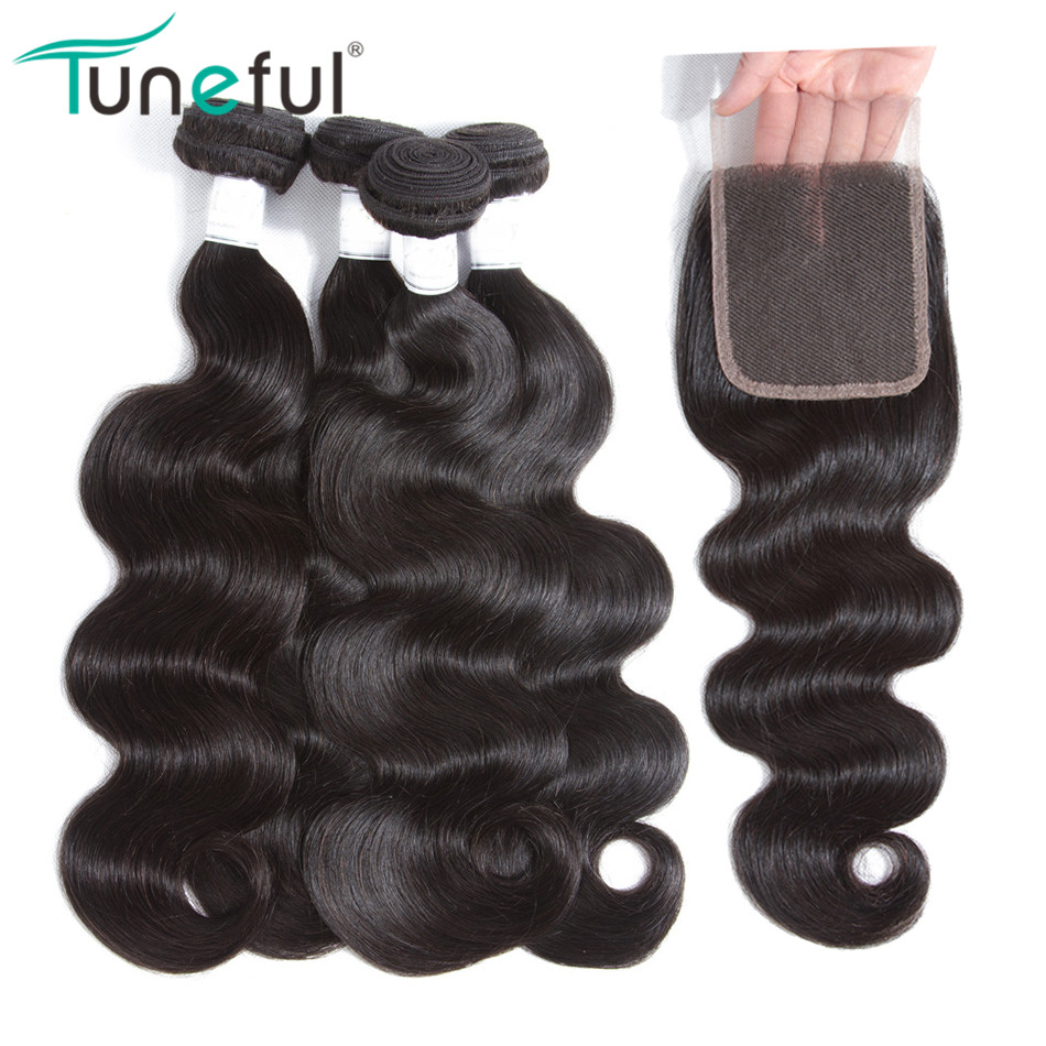 Body Wave Hair 4 Bundles With Closure Tuneful 100% Human Hair Non Remy Weft Weave Brazilian Hair Weave Bundles With Closure