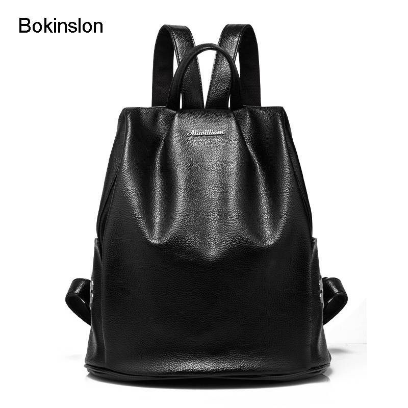 где купить  Bokinslon Fashion Bags Women Backpack College Wind Popular School Bag Womens Solid Color Cow Split Leather Backpack Girls  по лучшей цене