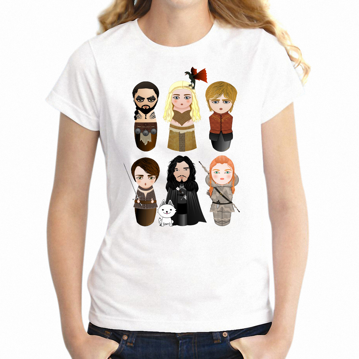 2019 Fashion Women's T Shirt Cute Kokeshi Game Of Thrones Arya Jon Snow Daenerys Girl's Tee