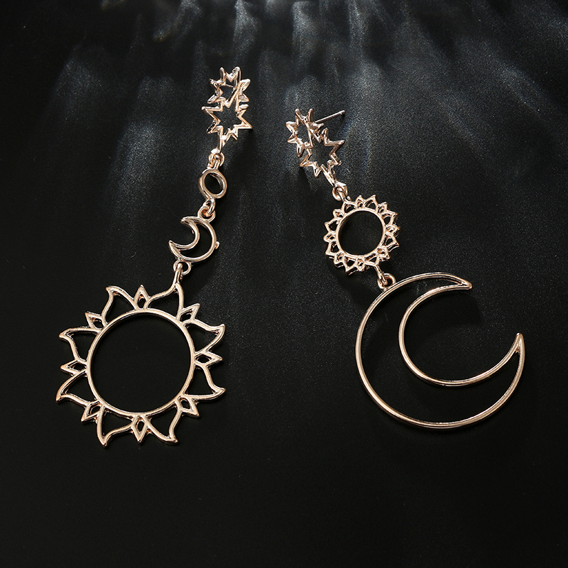 docona Rose Gold Star Moon Drop Dangle Earrings for Women Girl Hollow Geometric Pendant Earring Trendy Jewelry Pendientes 3023 5