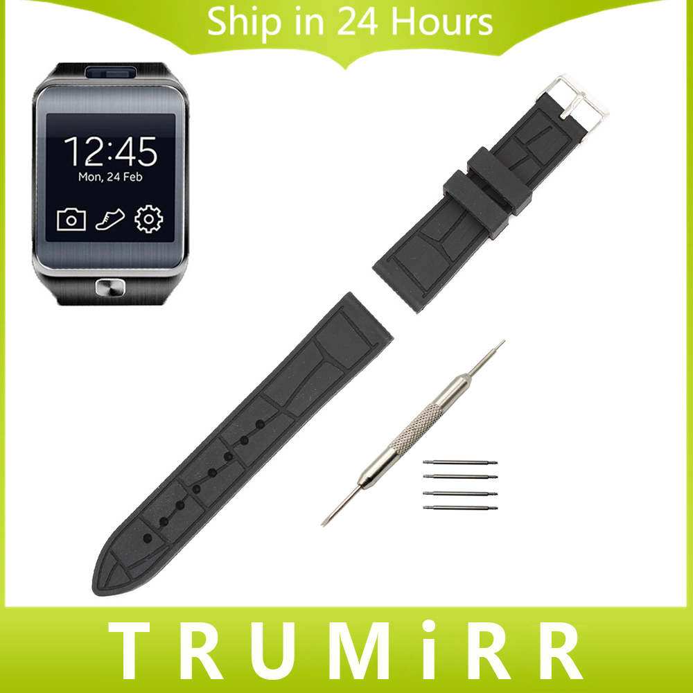 22mm Silicone Rubber Watchband + Tool for Samsung Galaxy Gear 2 R380 Neo R381 Live R382 Smart Watch Band Wrist Strap Bracelet jansin 22mm watchband for garmin fenix 5 easy fit silicone replacement band sports silicone wristband for forerunner 935 gps