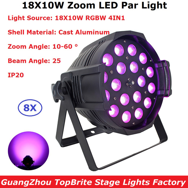 8IN1 Carton Package Indoor Aluminum Par Lights 18X10W RGBW Quad Color LED Zoom Par Lights 25 Degree Beam Angle Fast Shipping