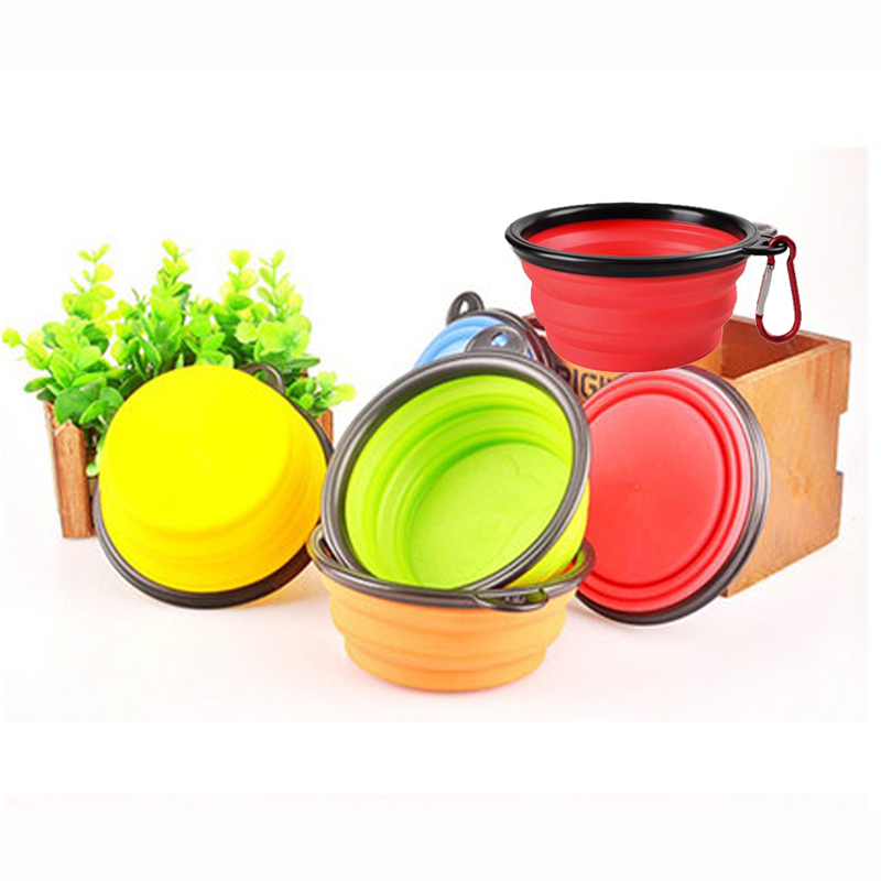 Hoomall 1pc Folding Silicone Dog Bowl Outfit Portable Travel Bowl For Dog Feeder Utensils Small Mudium Dog Bowls Pet Supplies