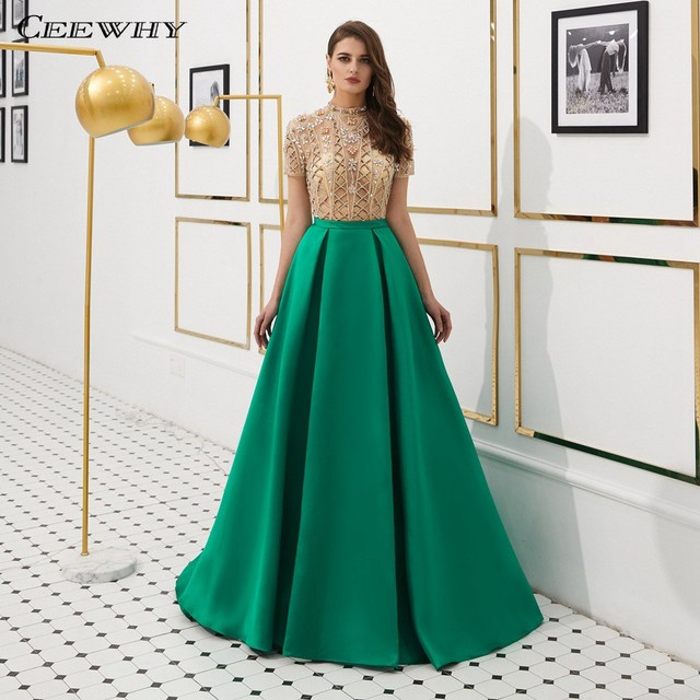CEEWHY Short Sleeve Luxury Evening Dress Arabic Evening Gowns Dresses  Beaded Prom Dresses 2019 Formal Party Satin Dress Galajurk eddea486d9cd