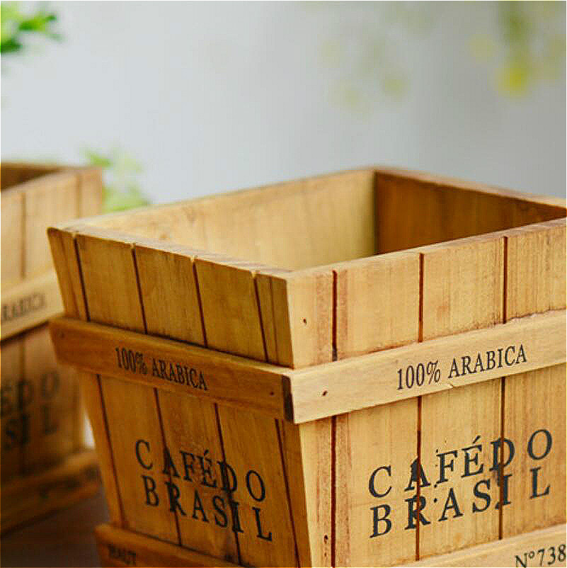 Image 5 - Solid Wood Retro Fleshy Plant Receives Candy Barrels Trays Desktop Receptacle Boxes Potted Wooden Box Gardening Pots Baskets-in Flower Pots & Planters from Home & Garden