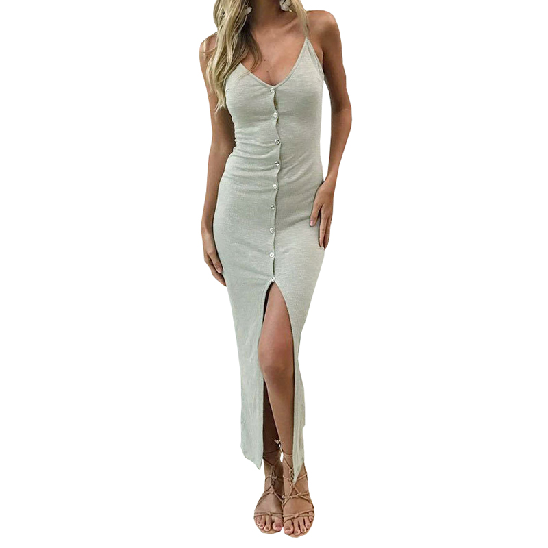 Button Sexy Casual Summer Dress Long Boho Beach Women Sundress Vestidos Elegant Daily Dess Female