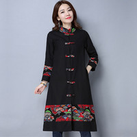 2017 Spring Autumn Clothes New Plus Size Women National Style Retro Literary Trench Coat Loose Elegant