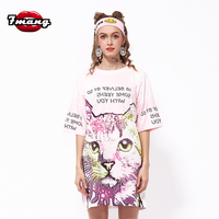2016 Summer Women Harajuku Long Loose Cartoon Cat Cute Print T Shirt Short Sleeve Straight Casual