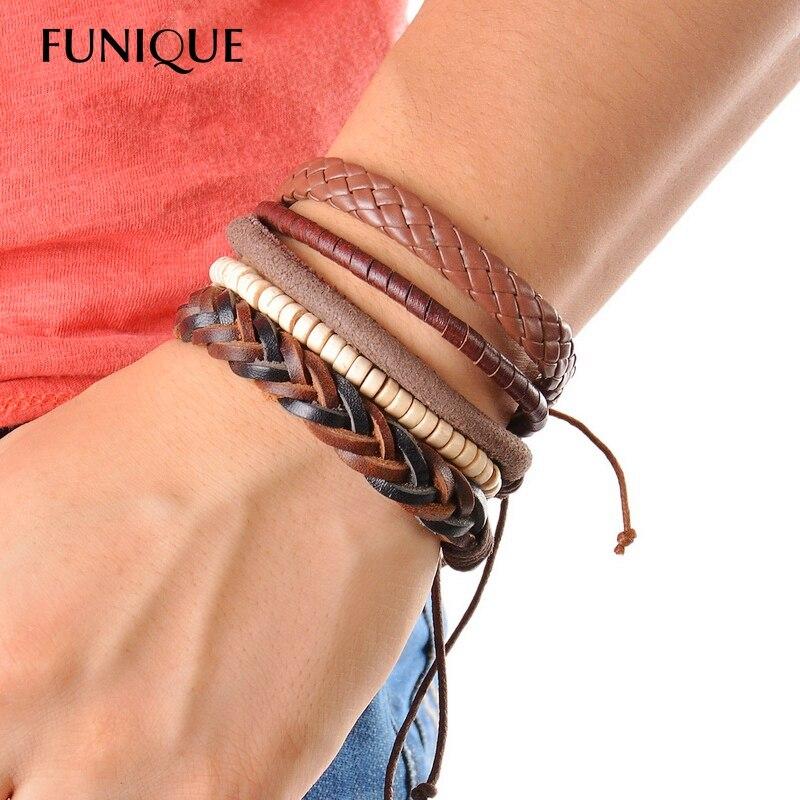 Us 2 07 19 Off Funique Vintage Punk Casual Men Jewelry Leather Bracelet Multilayer Bead Wrap Bracelets For Women 1set 3 4pc In
