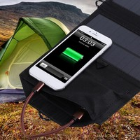Outdoor EDC Tool 21W Solar Charger Panel Outdoor Dual USB Port Folding Compact Waterproof Charging Emergency for Android Apple