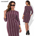COOEPPS Striped Autumn summer women dresses big sizes NEW 2017 plus size women clothing Straight dress Casual Work Office dress