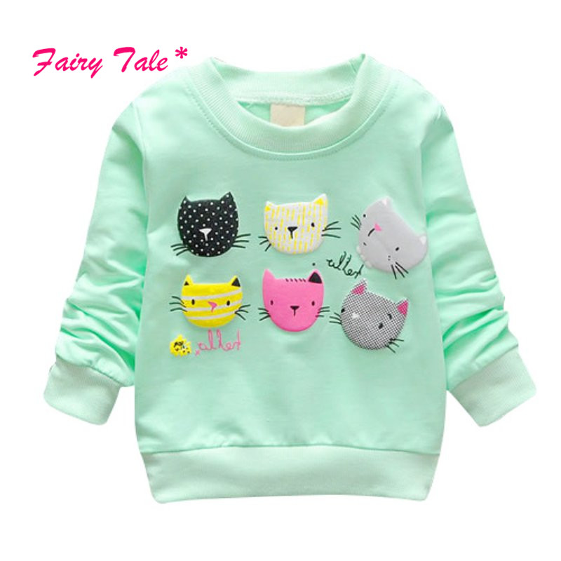 2017 Spring Cartoon Cat Print Girls Sweatshirts Casual Long Sleeve Sweater Baby Girl Pullover Kids Girls Clothes