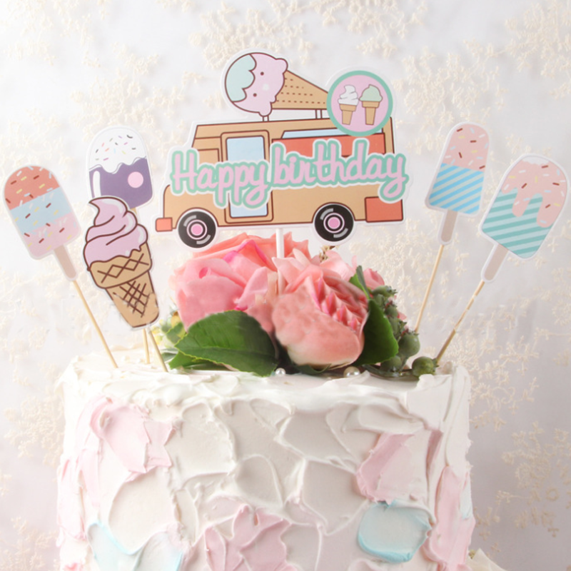 1 set Novelty Summer Cupcake Toppers Picks Ice cream car Topper happy Birthday Party Decoration Baby Shower Supplies