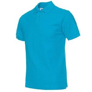 Image 3 - Мужская рубашка поло, Мужская одежда, мужские футболки поло, Повседневная летняя хлопковая Однотонная рубашка поло, 2019