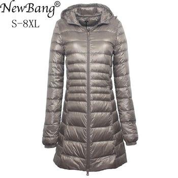 NewBang 7XL 8XL Plus doudoune longue femmes hiver doudoune Ultra légère femmes avec manteau à capuche femme grande taille manteaux 1