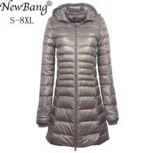 NewBang 7XL 8XL 플러스 롱 다운 자켓 여성 겨울 울트라 라이트 다운 자켓 여성 후드 다운 코트 여성 빅 사이즈 코트