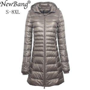 NewBang 7XL 8XL Plus Long Down Jacket Women Winter Ultra Light Down Jacket Women With Hooded Down Coat Female Big Size Coats(China)