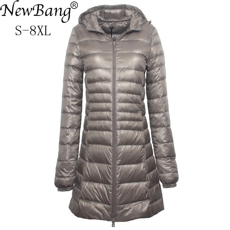 NewBang 7XL 8XL Plus Long   Down   Jacket Women Winter Ultra Light   Down   Jacket Women With Hooded   Down     Coat   Female Big Size   Coats