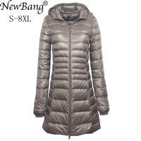 NewBang 7XL 8XL Plus Long Down Jacket Women Winter Ultra Light Down Jacket Women With Hooded Down Coat Female Big Size Coats