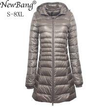 NewBang 7XL 8XL artı uzun şişme ceket kadınlar kış ultra hafif şişme mont kadın kapşonlu uzun kaban kadın büyük boy palto