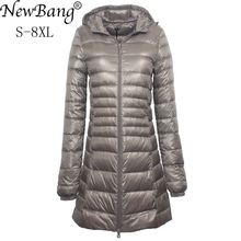 NewBang 7XL 8XL בתוספת ארוך למטה מעיל נשים חורף קל במיוחד למטה מעיל נשים עם ברדס למטה נשי מעיל גדול גודל מעילים