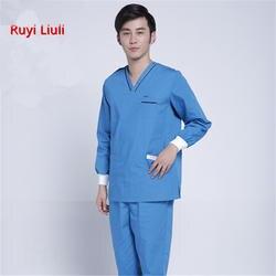 Стиральная одежда для мужчин и женщин с длинными рукавами хлопковая одежда кисть хирургическая форма доктора ручная одежда платья доктор