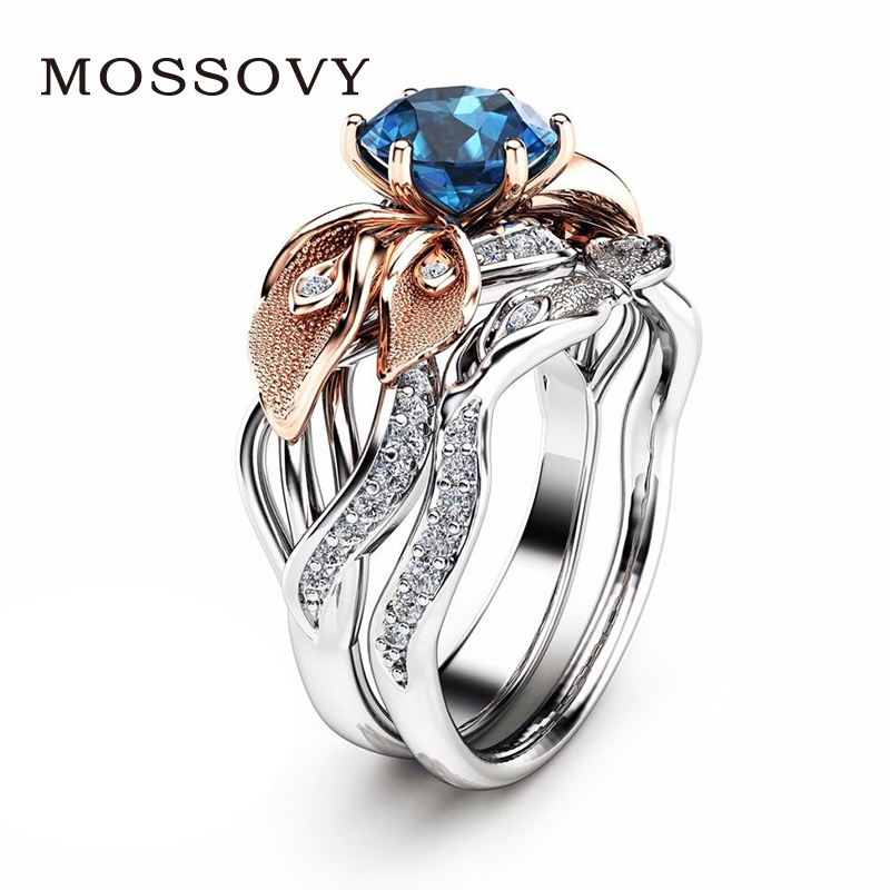 Mossovy Silver Rose Gold couple Ring Wedding Rings for Women Cubic Zirconia Engagement Ring Blue Zircon Bague Anillos Mujer