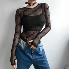 Sexy Transparent Black Mesh Woman Long Sleeve Printed Cotton T-shirt