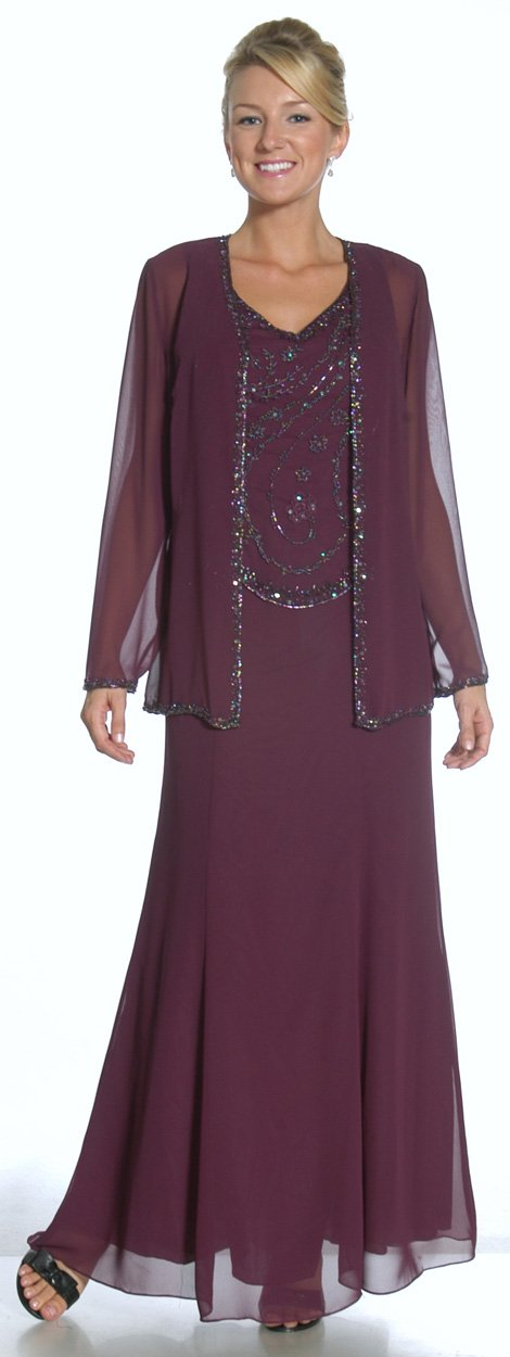 Designer Purple Chiffon A Line Beading Mother Of The Bride Dresses With Long Sleeves Jacket
