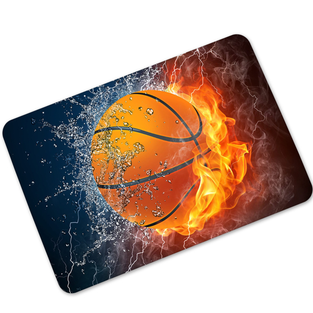 Modern Carpet Colorful Rubber Mats Soccer Anti-skid Absorbent Basketball Carpet living room mat Polyester Bathroom Rugs 40x60cm