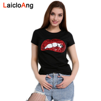 2017 New Fashion T Shirts For Women Short Sleeve Sequin Red Lips Print Harajuku Casual T
