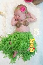 NEW 2014 Cute crochet newborn photography props outfits baby set hula girl headdress coconut bra grass skirt Sets