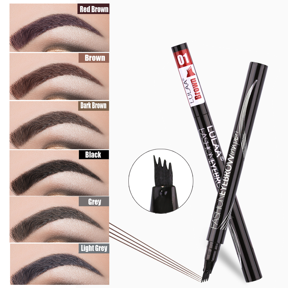 LULAA Four Heads Eyebrow Pen Waterproof Eyebrow Pencil Tattoo Tint Long Lasting Liquid Eye Brow Gray Brown Black  Brush Makeup(China)