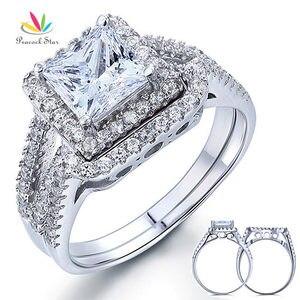 Image 1 - الطاووس ستار 1.5 قيراط الأميرة الصلبة 925 فضة الزفاف وعد خاتم الخطوبة مجموعة CFR8141