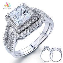 Estrella del pavo real 1.5 Carat Princess Creado Diamante Promesa de Compromiso Del Anillo de Bodas de Plata Esterlina del Sólido 925 Conjunto CFR8141