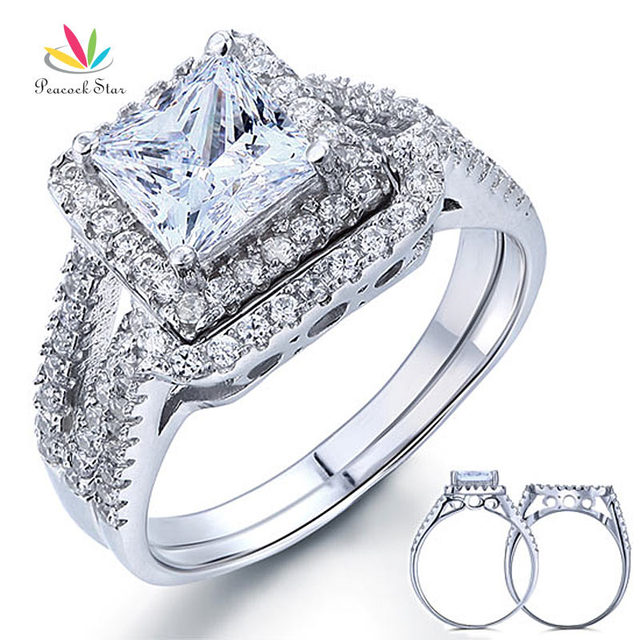 Peacock Star 1.5 Carat Princess Created Diamond Solid 925 Sterling Silver Wedding Promise Engagement Ring Set CFR8141