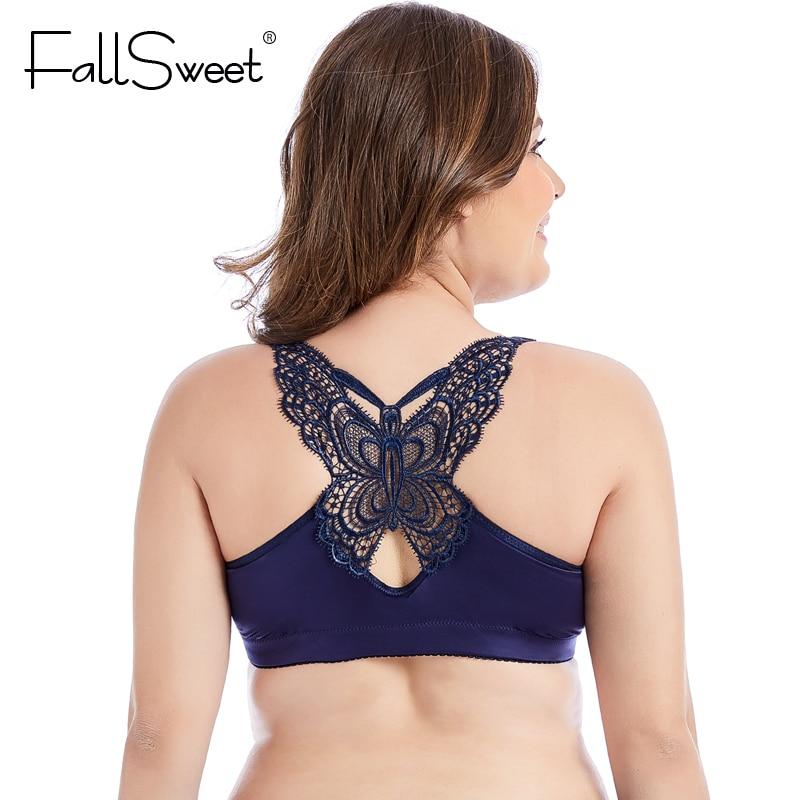 FallSweet Beauty Back Bras for Women Front Closure Brassiere Wire Free Women Underwear Push Up Bras