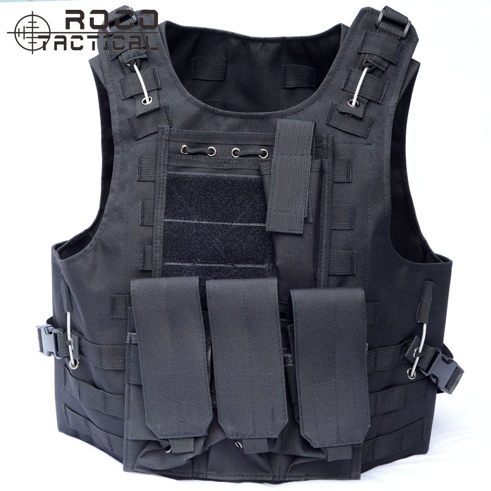 ROCOTACTICAL MOLLE Tactical Vest Military Combat Vest Airsoft Paintball VIRAS CS USMC MOLLE Assault Vest With Triple Mag Pouch