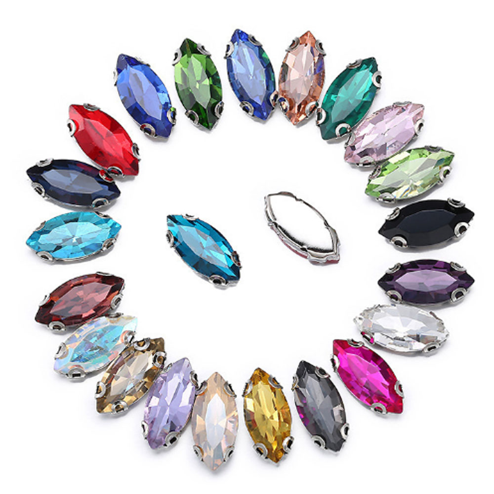 6x12mm 50pcs/lot horse eye shape D claw crystal color rhinstones silver base sew on rhinestones for clothes