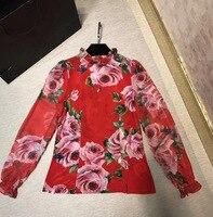 New 2018 Spring Summer Fashion Women Long Sleeve Silk Chiffon Tops And Blouse Rose Patterns Print
