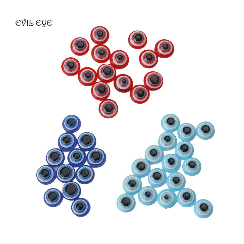 100pcs/lot 6x3mm Black/red/blue acrylic evil eye beads space beads jewelry accessories handmade making jewelry components