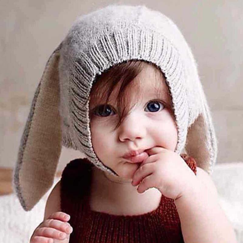 1 Pcs 2016 New Fashion Lovely Rabbit Ears Children Knitted Caps Autumn Winter Handwork Brand Baby Hats Skullies Beanies 8479