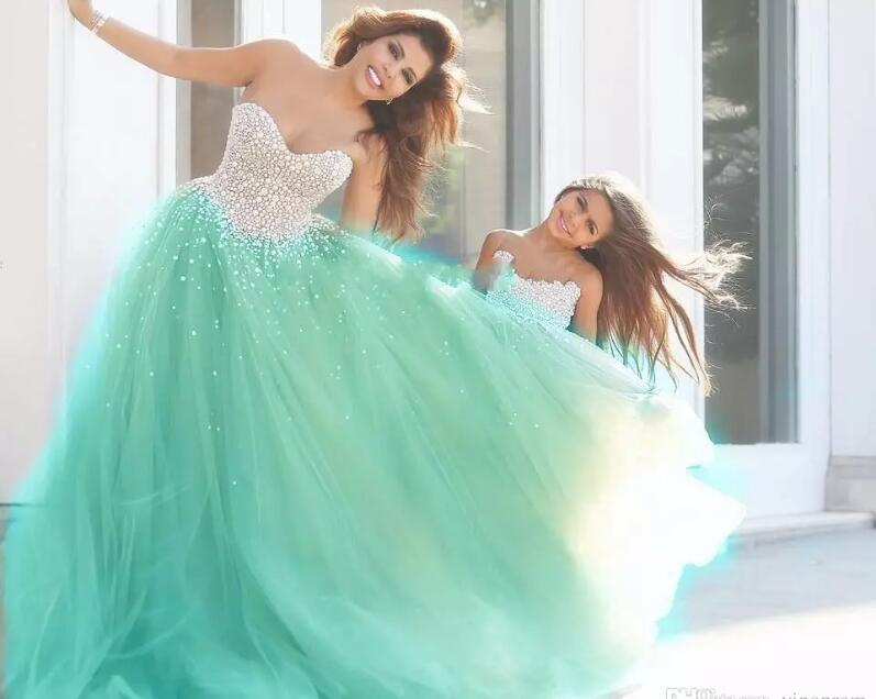 Vestidos De 15 Anos Morado Tulle Formal Beaded Mint Green Quinceanera2017 Pageant Party Prom Ball Gown bridal   bridesmaid     dress