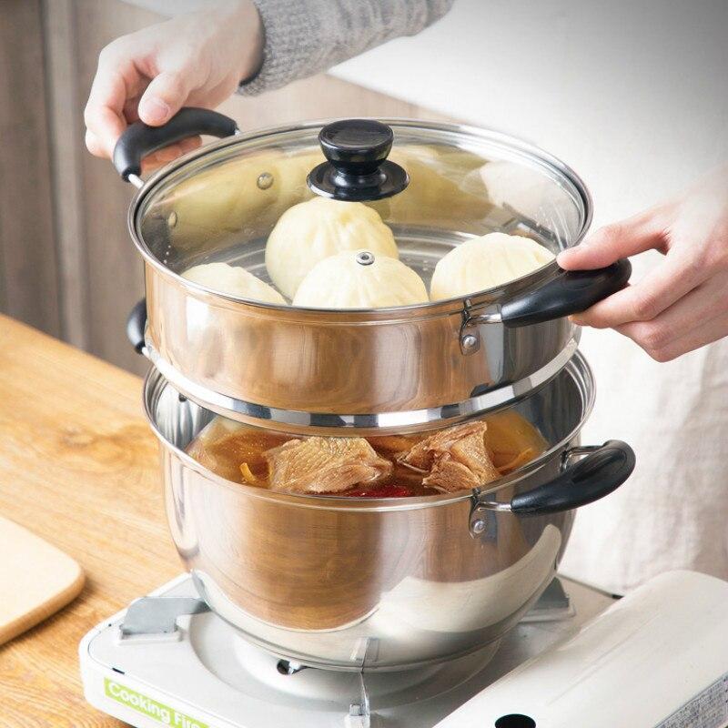 Cuiseur vapeur inox 2 couches pain cuiseur vapeur pot ménage cuisine induction cuisinière à gaz pot à soupe universel mx4091420