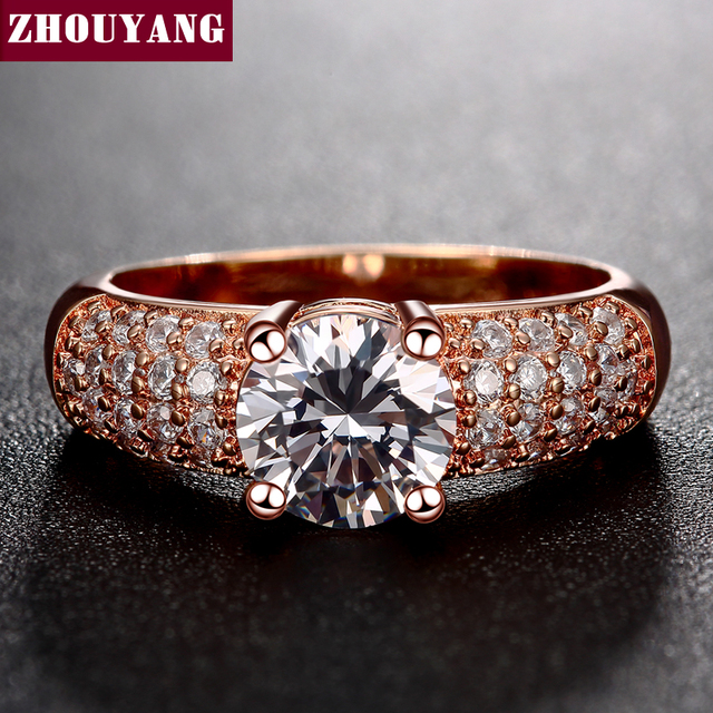 Micropave Setting 7mm 4 claws 1.5ct AAA+ CZ Wedding Ring Rose Gold Color Luxury Jewelry Women ZYR105