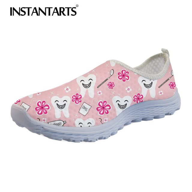 INSTANTARTS Breathable Female Flats Nurse Sneakers Fashion Women Summer Mesh Shoe 3D Cartoon Dentist/Tooth Pattern Zapatos Mujer