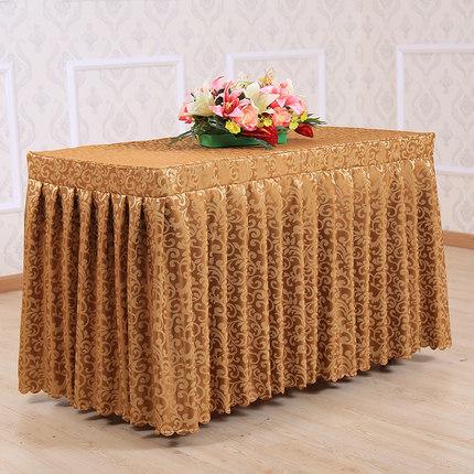 Feito por encomenda do banquete de casamento do hotel toalha de mesa de reunião mesa de buffet de check in espessamento jacquard tampa de tabela mesa de rodapé