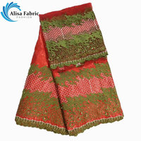 Wholesale African Bazin Riche Lace Jacquard Fabric Beautiful Embroidered with stones 5yards+2yards Tulle Lace Fabric for sewing