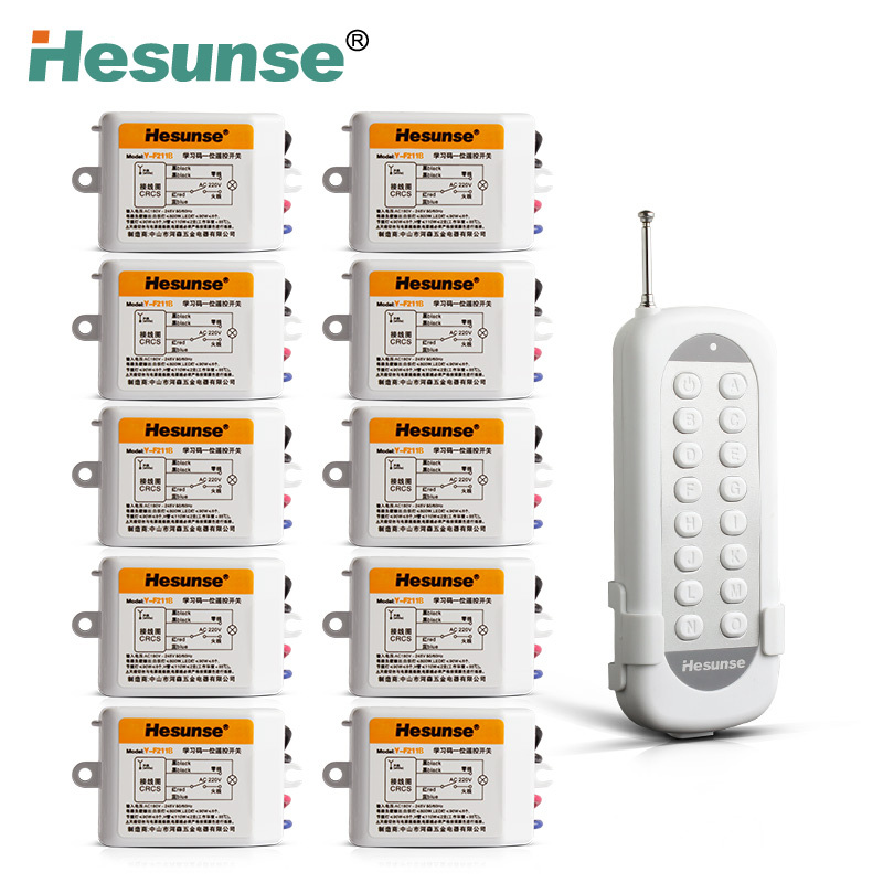 Y-F211B1N10 With 10 Receivers 10 Ch RF Wireless Remote Control Switch 220V 110V Remote control jd211a1n5 top rating 5 channel switch rf wireless remote control light switch five digital receivers 110v and 220v